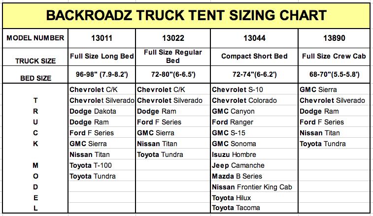 Backroadz Truck Tent Size Chart